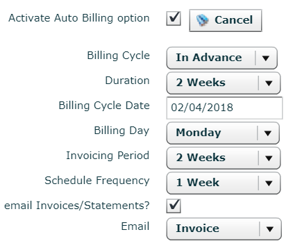All the variables you can select to automate your invoices