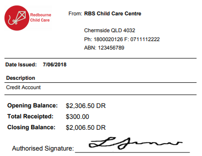 Professional Receipt for payment of child care services