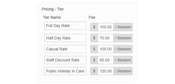 Various pricing rates for different sessions