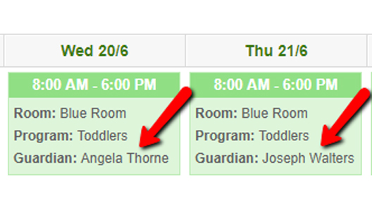 Booking Screen shot showing 2 different guardians for one child on 2 different days.