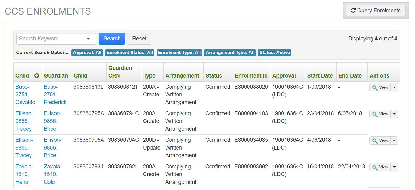 CCS Enrolments Screenshot