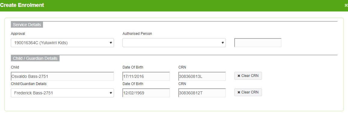Pre-populated Enrolments details