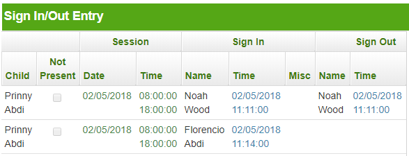 Showing Sign-in and out times