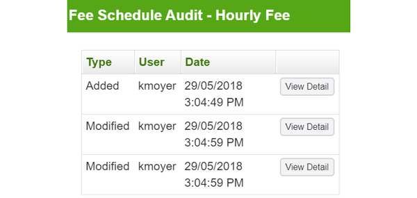 How to audit changes to fee structure