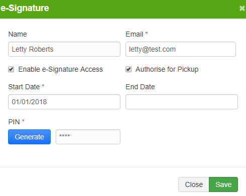 Showing how to generate an e-signature