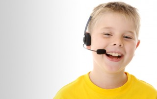 Boy with speaker headset