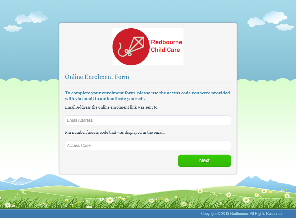 Brand your Online Enrolments Module screen